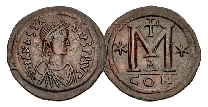 A Byzantine 40-nummi (from the reign of Anastasius)