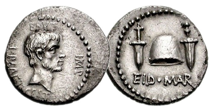 "An ""Ides of March"" denarius of the conspirator Brutus."