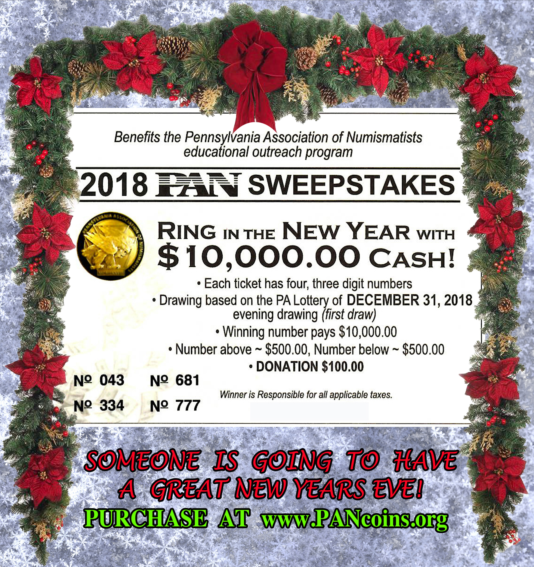 PAN - Pennsylvania Association of Numismatists Holiday raffle flyer