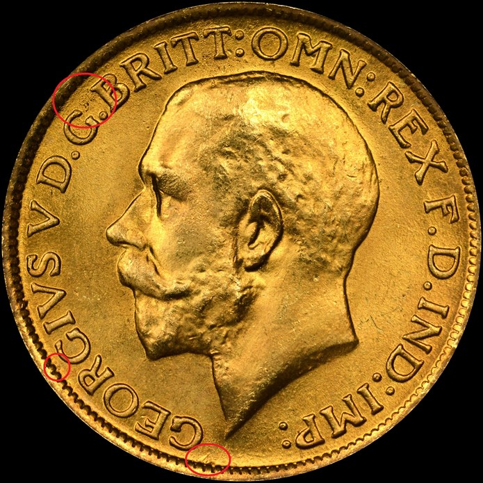 Obverse, counterfeit 1913 Great Britain gold sovereign. Image courtesy NGC