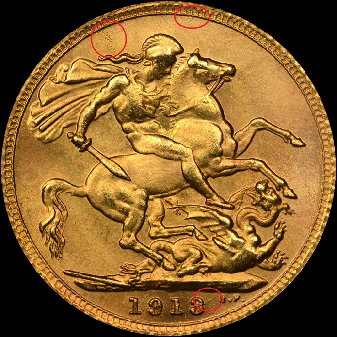 Pistrucci reverse, counterfeit 1913 Great Britain gold sovereign. Image courtesy NGC