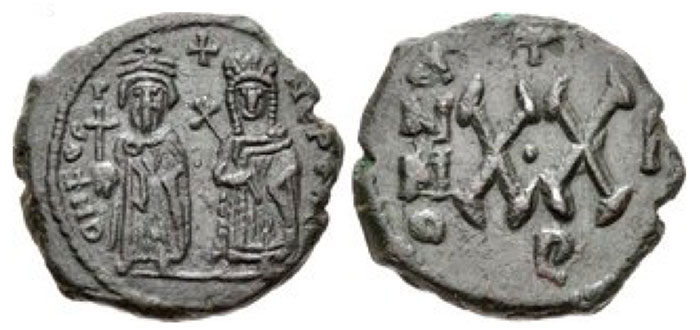 Phocas, with Leontia. 602-610. Æ Half Follis