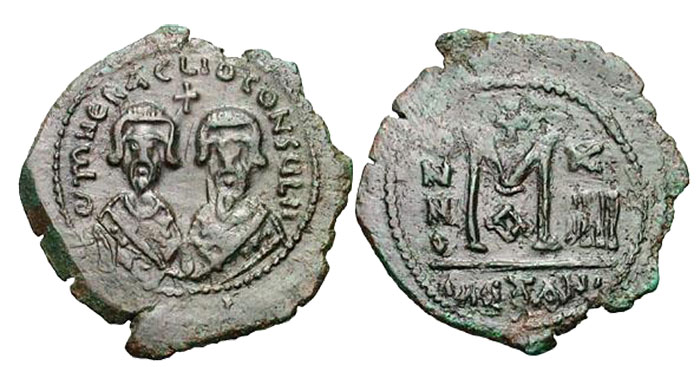 Revolt of the Heraclii. (Summer 608-November 610 CE). Bronze follis