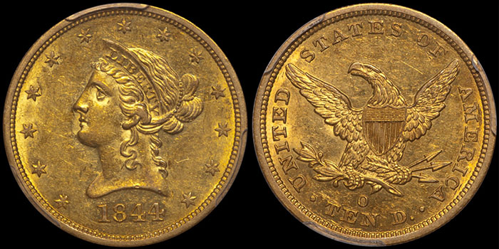 1844-O $10.00 PCGS AU58 CAC. Images courtesy Doug Winter