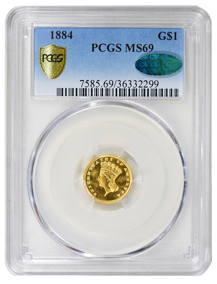 1884 Gold $1 PCGS MS69 CAC