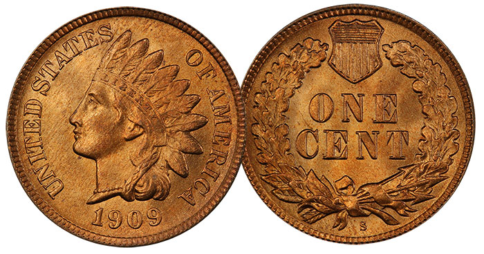 Lot 13: 1909-S Indian 1¢ PCGS MS66+RD CAC