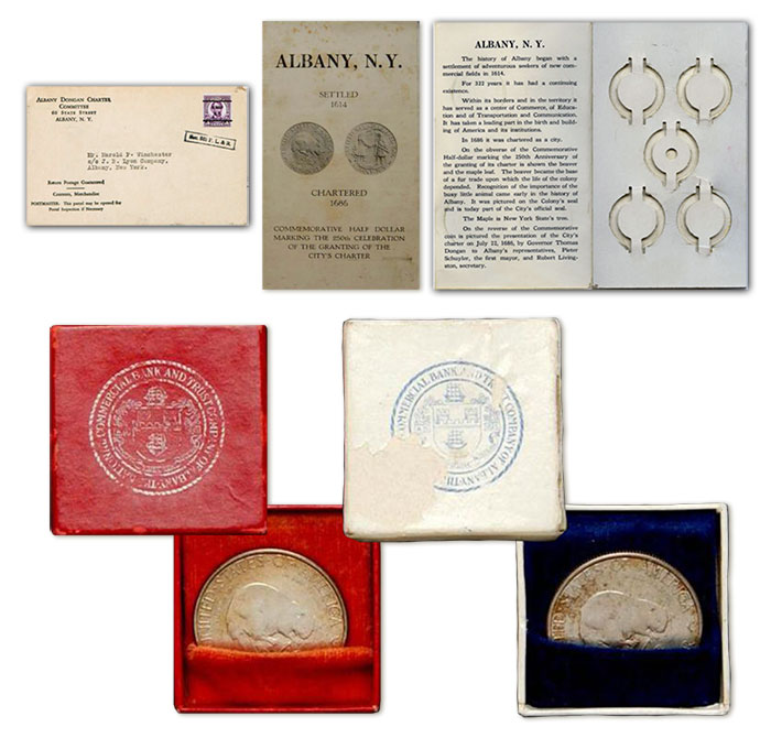 Top: Albany Charter Half dollar with booklet and five coin holder with envelope. Bottom: The red and blue boxes illustrated above are from the Helen Carmody Estate. The boxes and enclosed coins sold at a March 8, 2005, Stack's Bowers auction for $4,370.