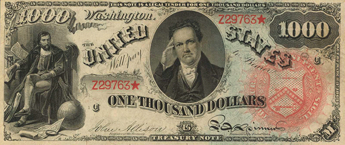 1863 $1,000 Legal Tender Note. Image: Stack's Bowers.