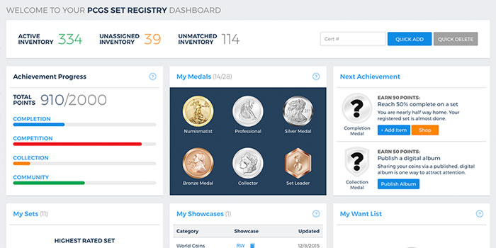 PCGS Set Registry Dashboard 2019