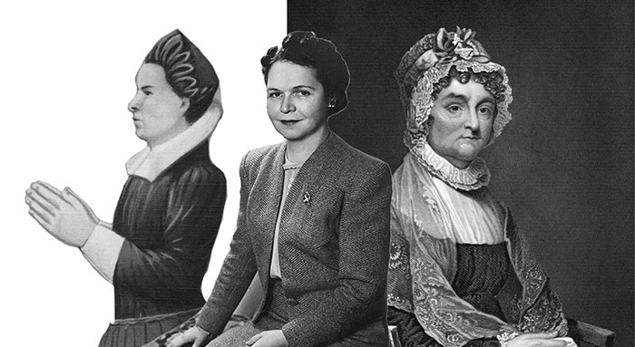 Left: Elizabeth Pole, Center: Georgia Neese Clarke Gray, Right: Abigail Adams.
