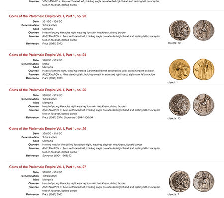 Screen Grab ANS Ptolemaic Coins Online