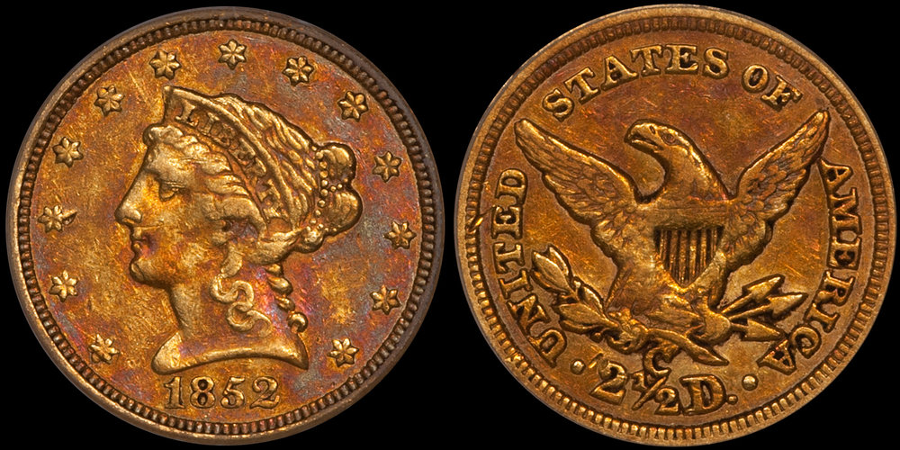 1852-C $2.50 PCGS EF45 CAC. Images courtesy Doug Winter