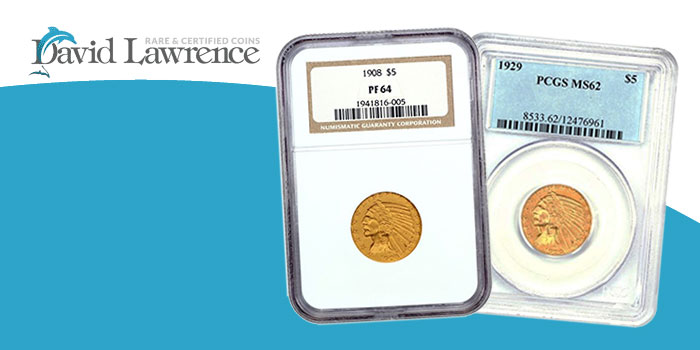 David Lawrence Rare Coins - Indian $5 Gold Coins