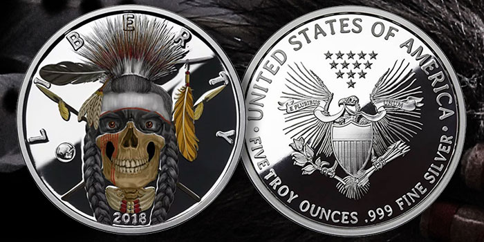 Indian Warrior - Western Skull 2018 Silver Round
