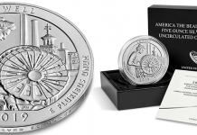 United States 2019 America the Beautiful Quarters - Lowell National Historical Park five ounce silver coin. Image courtesy US Mint