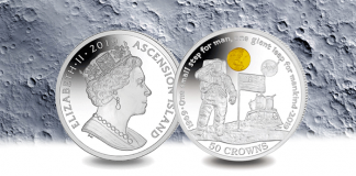 Ascension Island 2019 First Man on the Moon 50th Anniversary of the Apollo 11 Lunar Landing 50 oz silver and 1/10 oz gold commemorative coin. Images courtesy Pobjoy Mint