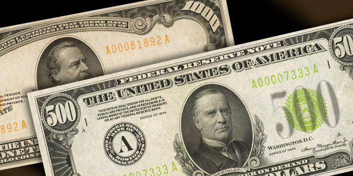 Stack's Bowers - $500 and $1000 Federal Reserve Notes - 2019 Baltimore Auction