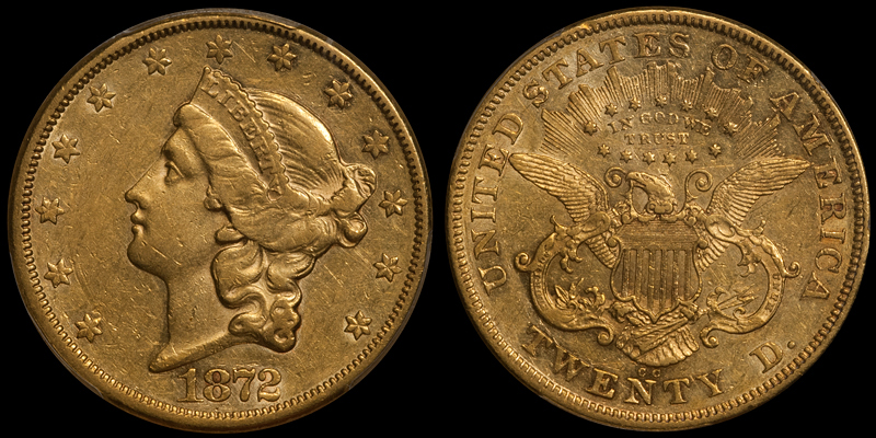 1872-CC $20.00 PCGS AU50. Images courtesy Doug Winter Numismatics
