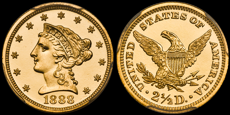 1888 $2.50 PCGS PR67DCAM CAC. Images courtesy Doug Winter