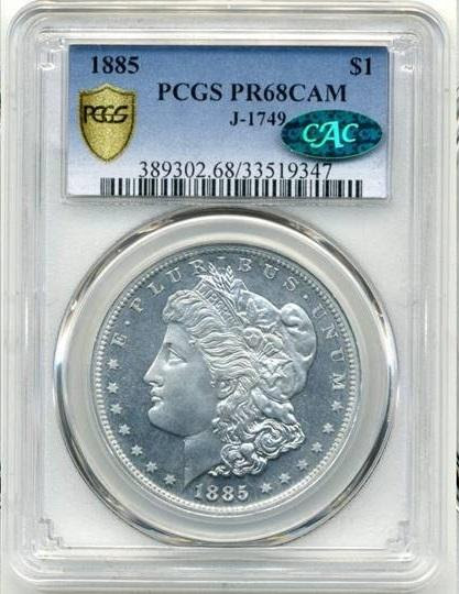 1885 Edge Lettered Aluminum Snowden $1 Morgan PCGS PR68 Cameo Judd-1749 CAC. Image courtesy NCIC