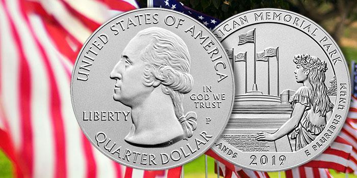 America the Beautiful 5 Ounce Silver Coin - American Memorial Park - 2019
