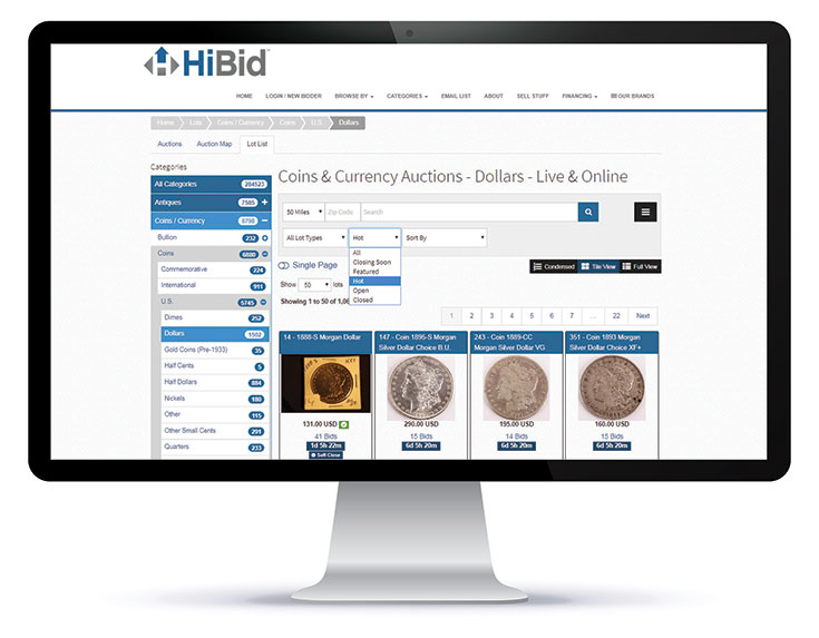 Searching for Coins & Currency Online With HiBid com