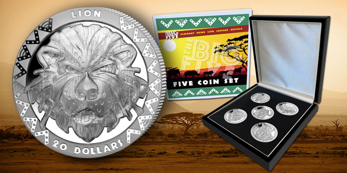 "Pobjoy Mint ""Big Five"" Lion 20 Dollars"