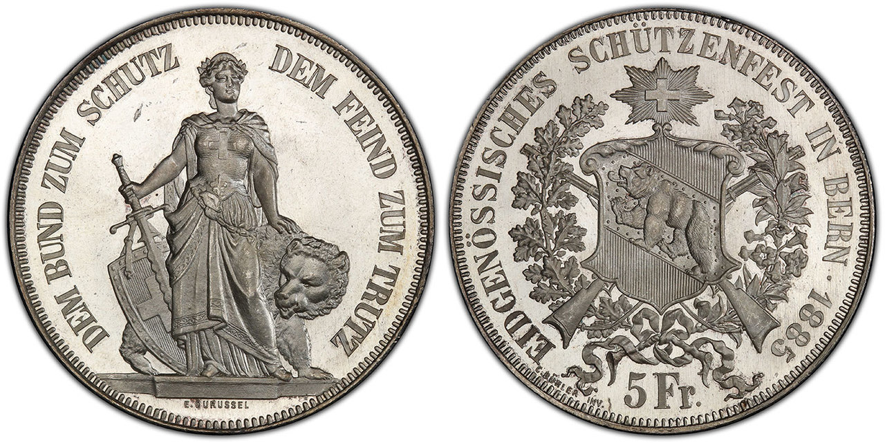 SWITZERLAND. Bern Canton. 1885 AR 5 Francs (Shooting Thaler). NGC MS66+PL (Prooflike). Images courtesy Atlas Numismatics