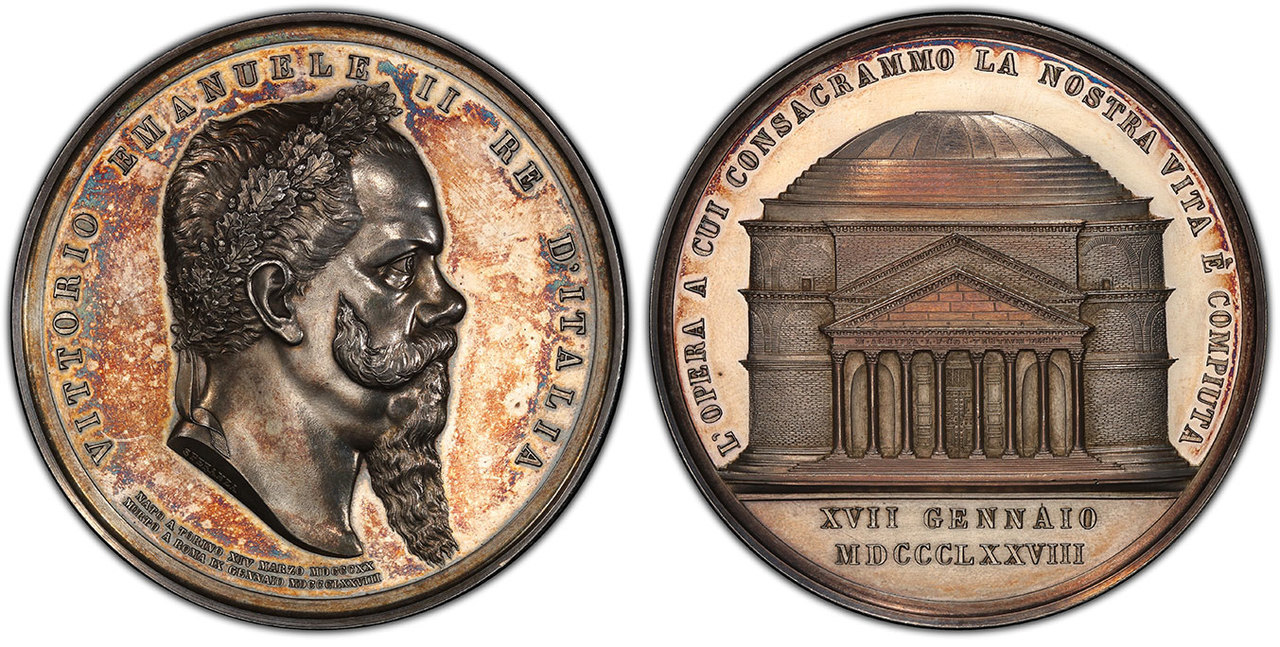 ITALY. Vittorio Emanuele II. (King, 1861-1878). 1878 AR and AV Set of Two Medals. NGC MS61-MS63PL (Prooflike). By Filippo Speranza. Images courtesy Atlas Numismatics