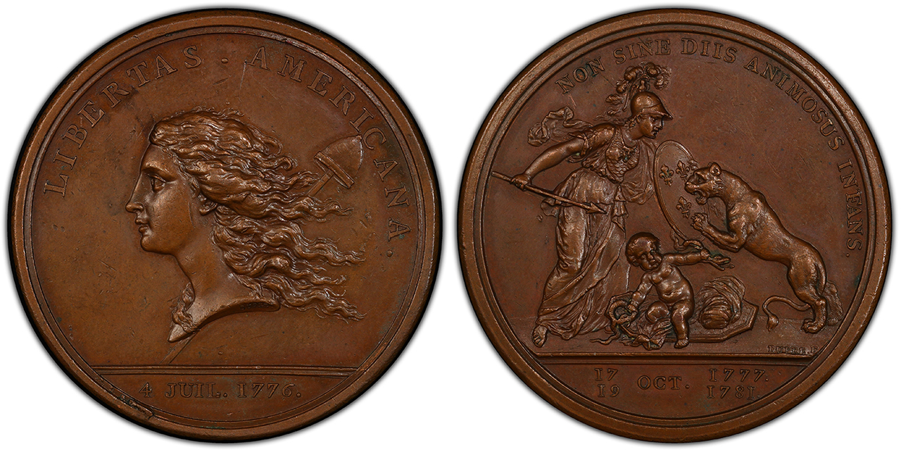 UNITED STATES OF AMERICA. 1781 AE Libertas Americana Medal. PCGS MS62BN (Brown). By Augustin Dupré. Images courtesy Atlas Numismatics