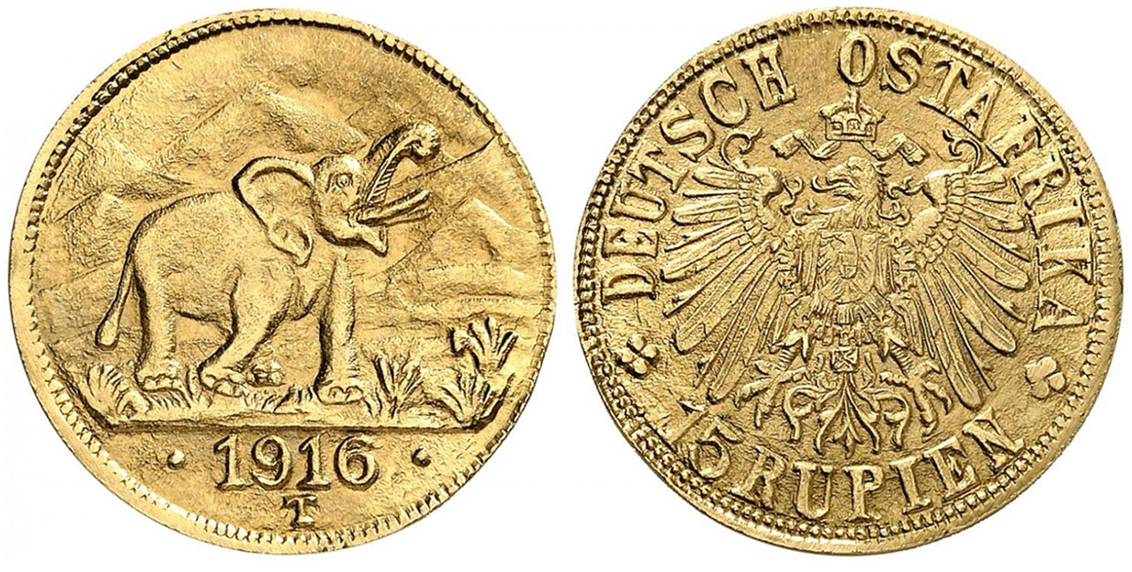 GERMAN EAST AFRICA. Wihelm II. 1916-T AV 15 Rupien. NGC MS65. Images courtesy Atlas Numismatics