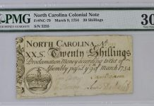 1754 North Carolina Colonial Note, 20 Shillings. Image courtesy Paper Money Guaranty (PMG)