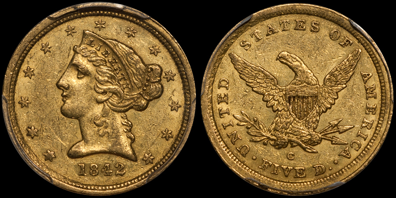 US gold coins - 1842-C SMALL DATE $5.00 PCGS AU55+ CAC. Images courtesy Doug Winter Numismatics