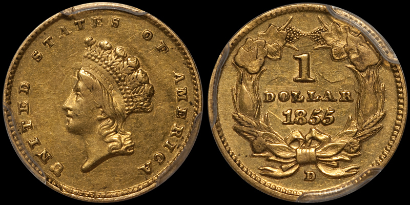 US gold coins - 1855-D $1.00 PCGS AU53 CAC. Images courtesy Doug Winter Numismatics