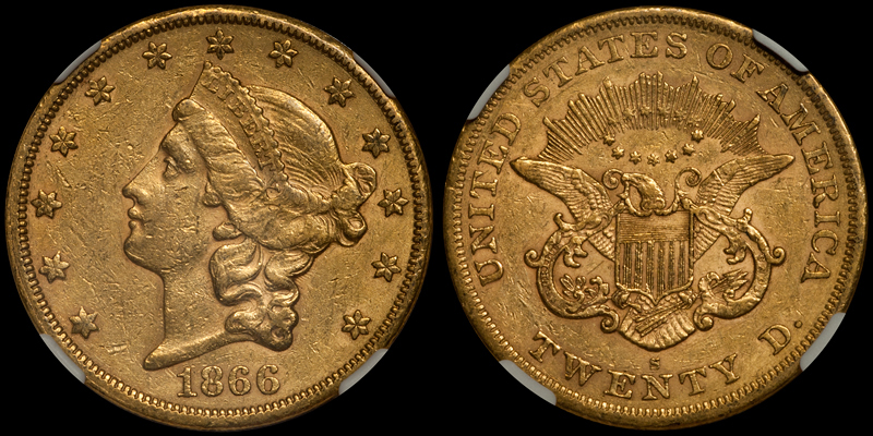 US gold coins - 1866-S NO MOTTO $20.00 NGC AU53 CAC. Images courtesy Doug Winter Numismatics