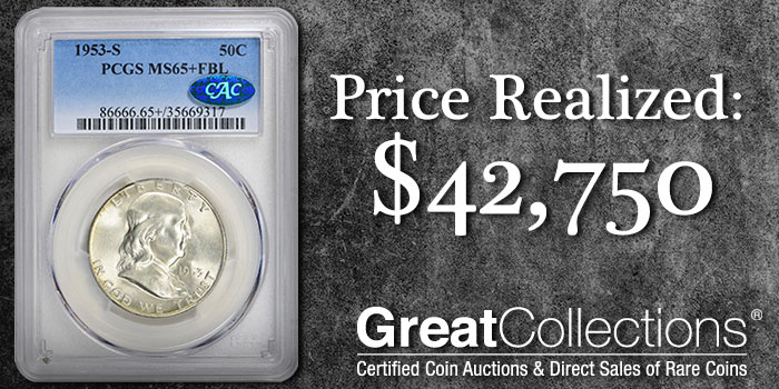 GreatCollections 1953-S Franklin Half Dollar PCGS MS65+FBL