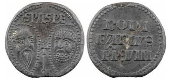 Boniface VIII, papal seal in lead, n.d. (1294-1303) S. PA. S. PE facing busts of Saint Peter and Saint Paul  In three lines: BONI/ FATIVS/ PP: VIII 35,0 mm 40,30 g 12 h