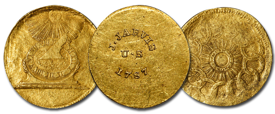Uniface Fugio Copper in Gold. Images courtesy Stack's Bowers Whitman Baltimore Auction