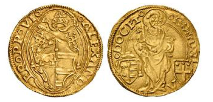Alexander VI (Rodrigo de Borja y Borja), 1492-1503. Papal Ducat Bologna, (1492-1500), AV 3.46 g. ALEXAND - ER PP VI Shield surmounted by  tiara and keys, within a double quadrilobate frame. Rv. BONONI - A - DOCET S. Pietro standing in front with a book and keys; below, on the sides, Borgia and City arms. Muntoni 32. Berman 544