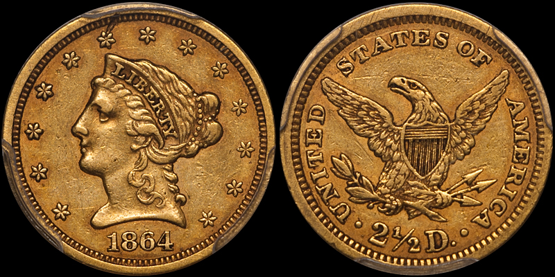 1864 $2.50 PCGS EF45 CAC. Images courtesy Doug Winter Numismatics