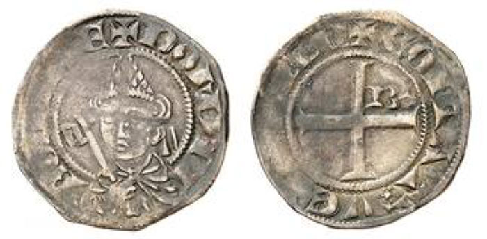 Benedetto Caetani. Grosso undated, Pont de Sorgues. Bust of the pope wearing a miter and holding a key, three quarters to the left / Cross cantoned with a B in the second quarter. 1.23 g. Berman 165; Muntoni 1; PA 4136.. Very rare and interesting. This is the first pontifical coin to bear the mention of the Comtat Venaissin (COITAT VENEAVSIN). The Pont de Sorgues mint was opened in 1300.