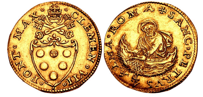 Clement VII. 1523-1534. AV Doppio fiorino di camera (25mm, 6.50 g, 10h). Rome mint. Coat-of-arms surmounted by crossed keys and Papal tiara / St. Peter in boat left, raising fishing net. Muntoni 14; Berman 829; Friedberg 59.