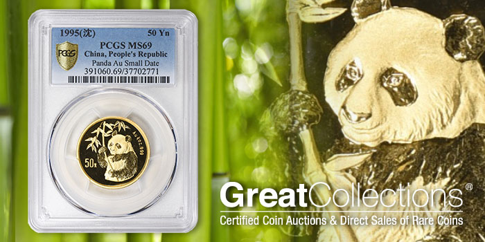 GreatCollections 1995 Panda 50 Yn Gold Coin