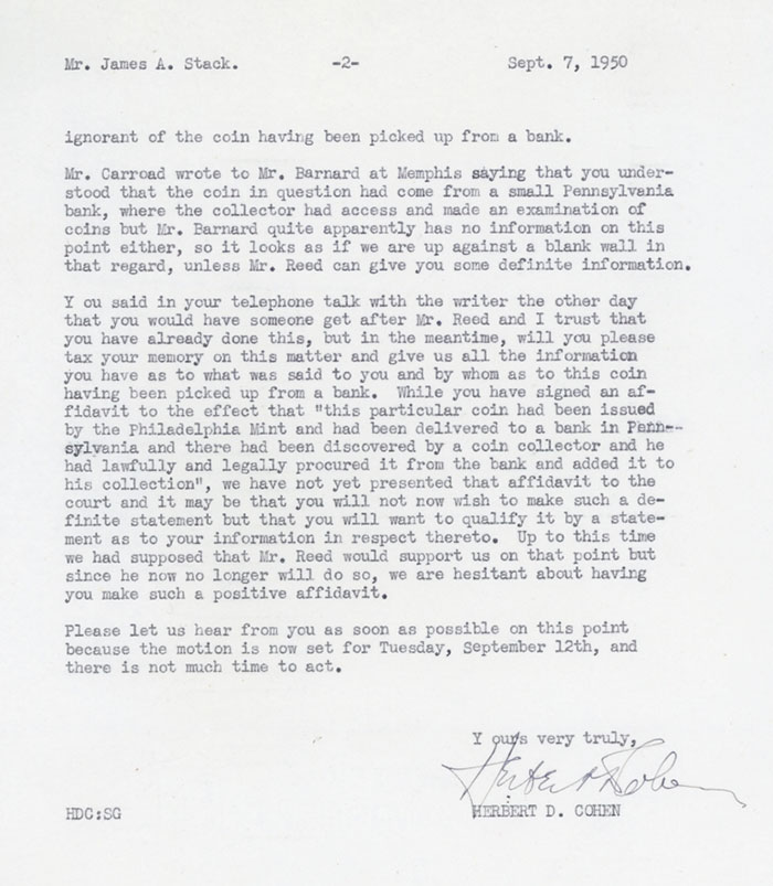 Kenneth Garroad letter to James A. Stack September 7, 1950 (2 of 2)