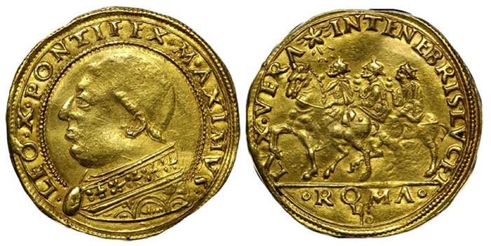 Pope Leo X gold 2.5 Ducati ND (1513-21), Rome mint, Fr-43, Ber-628, Montuni I, 1, CNI-1, MS62 NGC. The earliest of the small group of Renaissance Papal gold coins and a seldom offered rarity. The obverse displays a bust of Pope Leo facing left, while the reverse shows the three Magi on horseback, riding left, guided by the comet. There are no significant flaws, and traces of luster remain