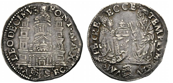 Leo X (1513-1521), Giulio, Ancona, 151-1521; AR (g 3,73; mm 27; h 6); LEO DECIMVS PONT MAX, facade of the basilica of S. Peter, in ex., MA-RC at sides of lion l., Rv. PETRE ECCE TEMPLVM TV VM, the pope kneeling r., offering the basilica to S. Peter; below, coat. Muntoni 72.