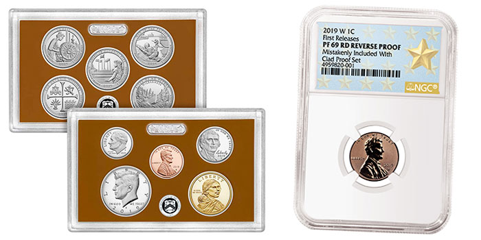 """2019 SILVER PROOF SET w///""""W/"""" REVERSE LINCOLN CENT NGC PF69 RD *First Day of Issue"""