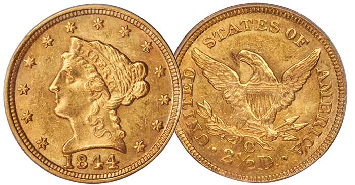 1844 $2.50 Gold Coin MS61 CAC