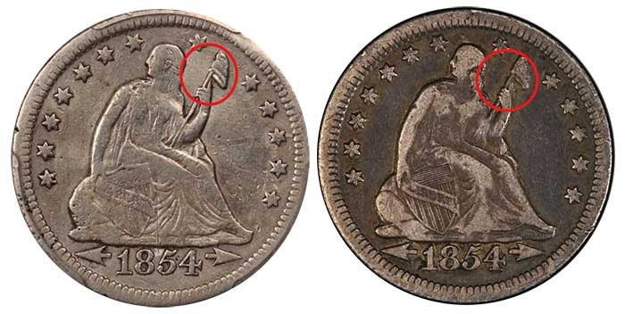 Comparison of example # 4 to a genuine example (courtesy of PCGS)