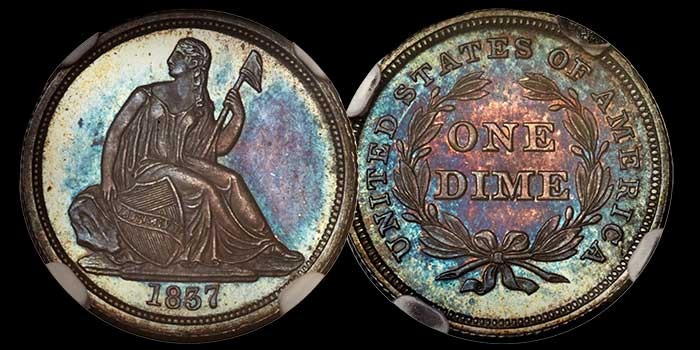 1837 proof dime - Imaged by Heritage Auctions